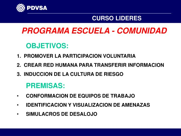PROGRAMA ESCUELA - COMUNIDAD