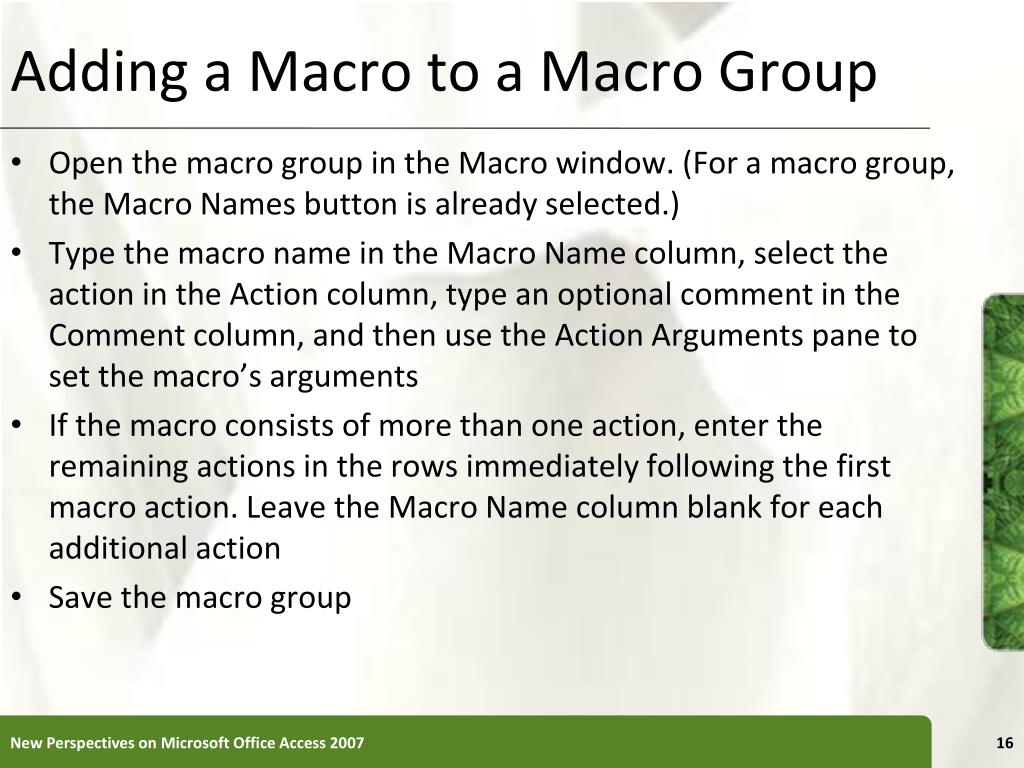 Adding a Macro to a Macro Group