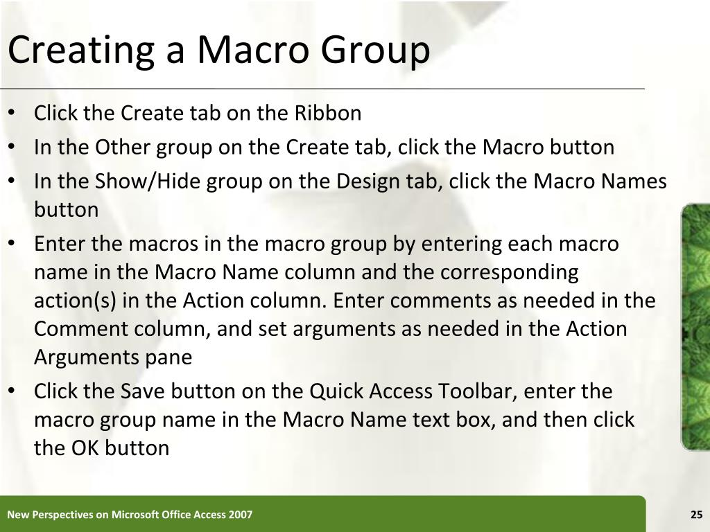 Creating a Macro Group
