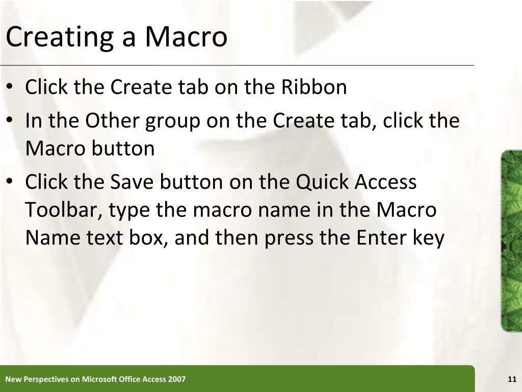 Creating a Macro