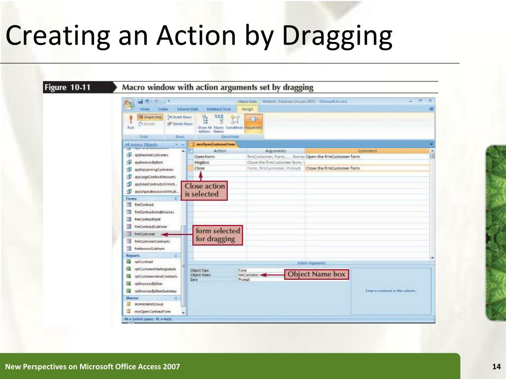 Creating an Action by Dragging