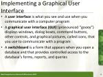implementing a graphical user interface