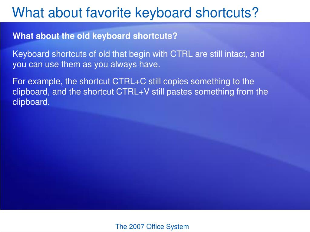 What about favorite keyboard shortcuts?
