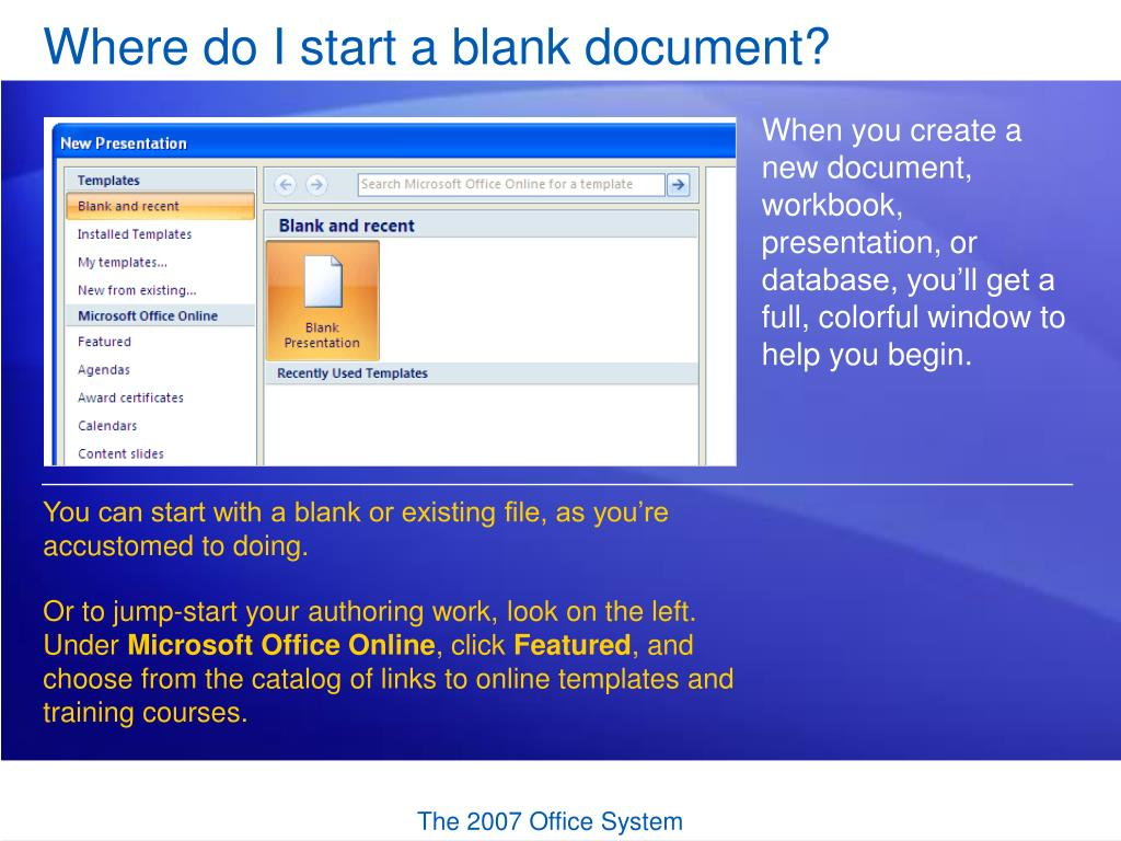 Where do I start a blank document?
