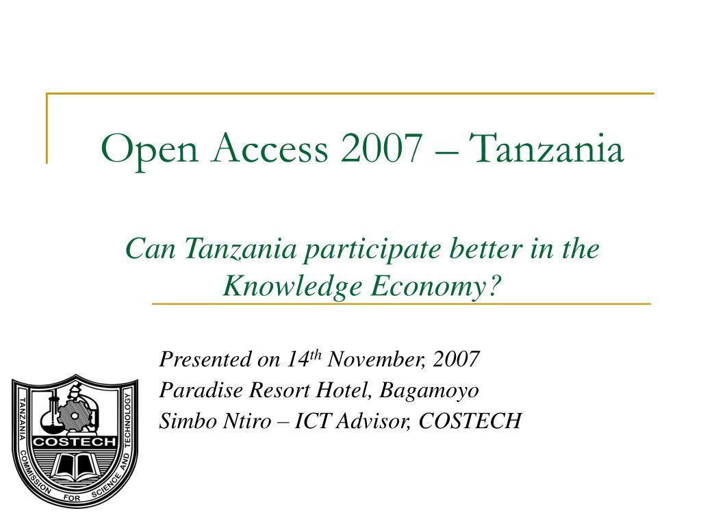 open access 2007 tanzania can tanzania participate better in the knowledge economy