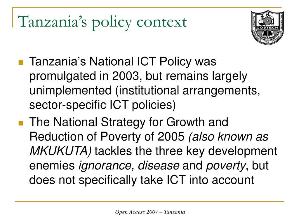 Tanzania's policy context