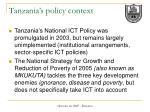 tanzania s policy context