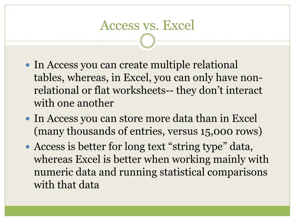 Access vs. Excel