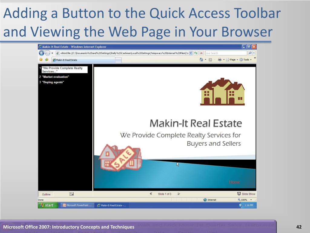 Adding a Button to the Quick Access Toolbar and Viewing the Web Page in Your Browser
