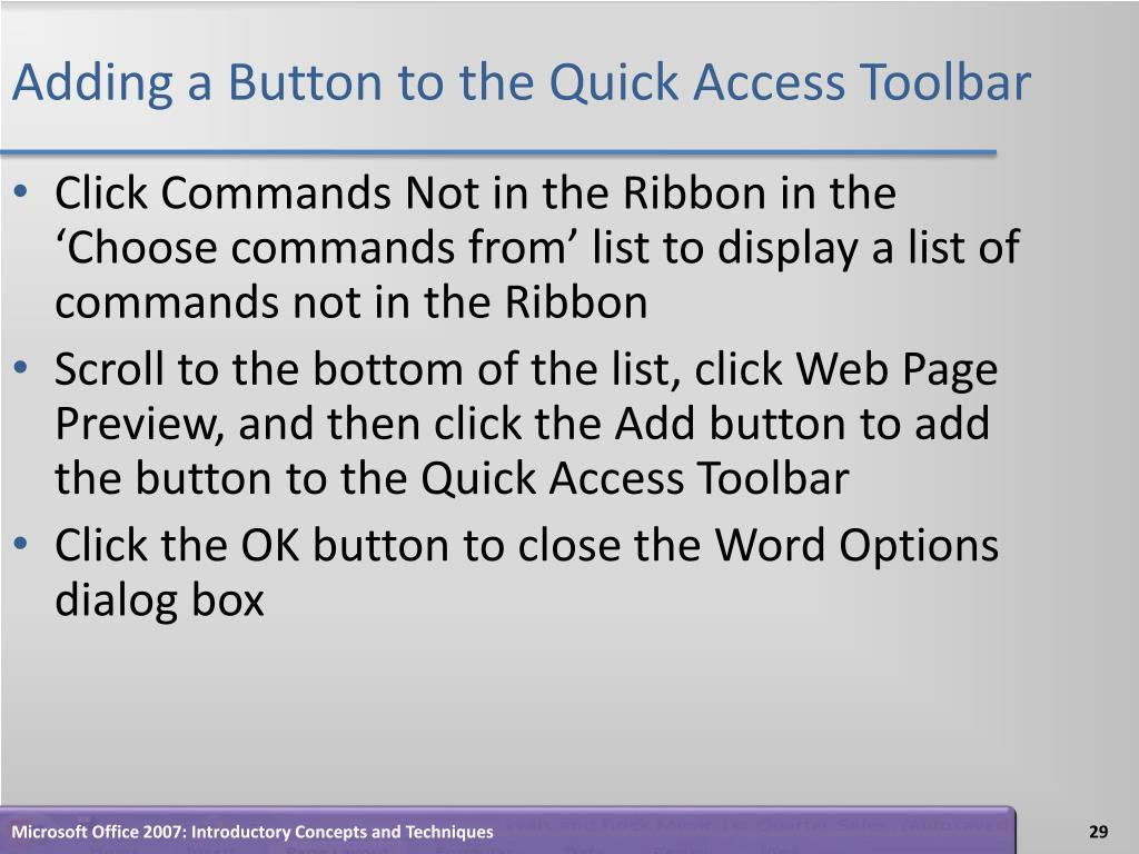 Adding a Button to the Quick Access Toolbar