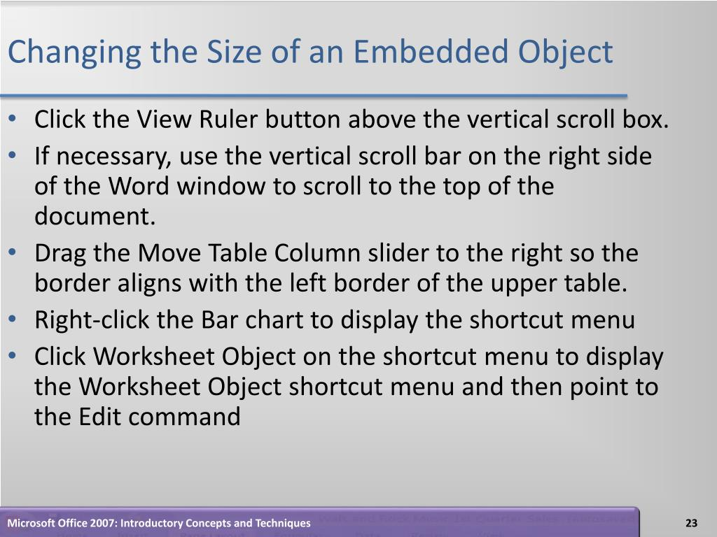 Changing the Size of an Embedded Object