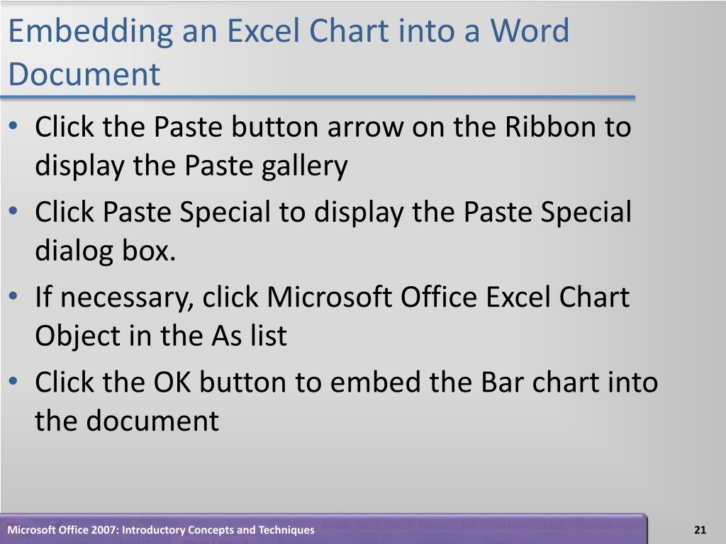 Embedding an Excel Chart into a Word Document