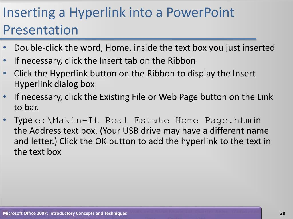 Inserting a Hyperlink into a PowerPoint Presentation