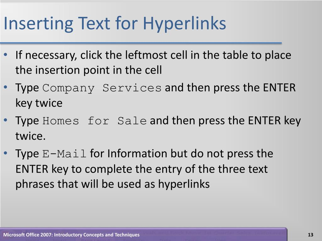 Inserting Text for Hyperlinks