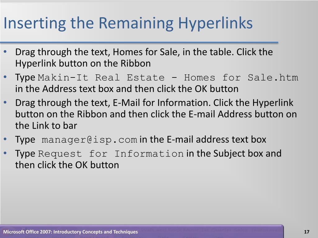 Inserting the Remaining Hyperlinks