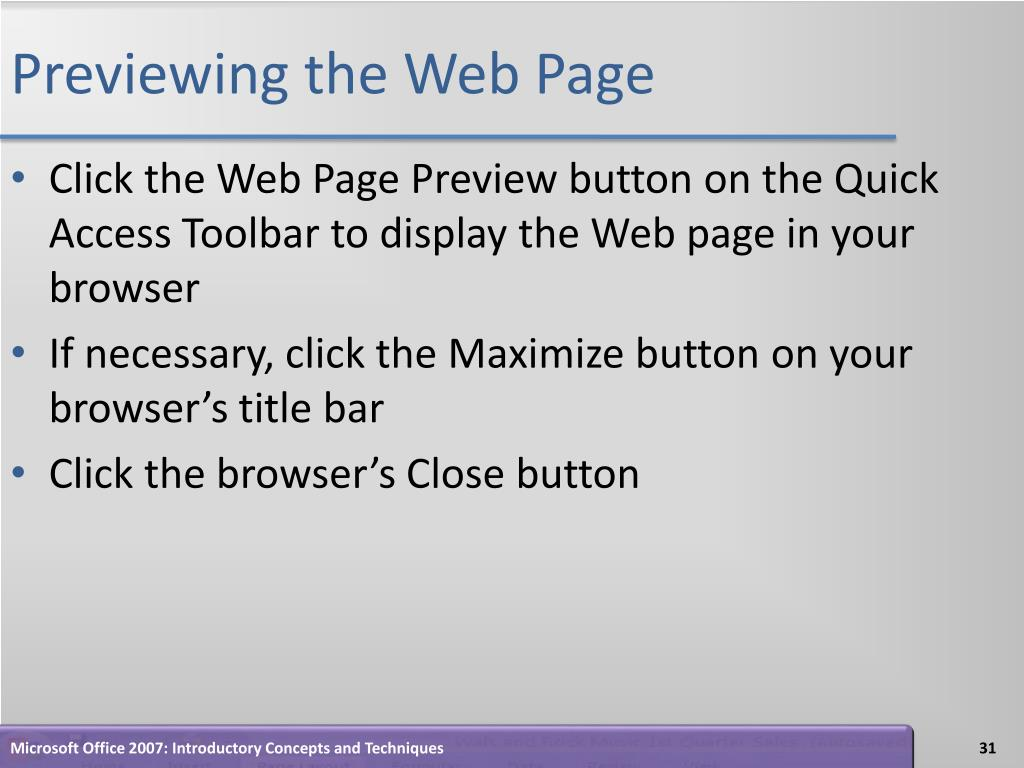 Previewing the Web Page