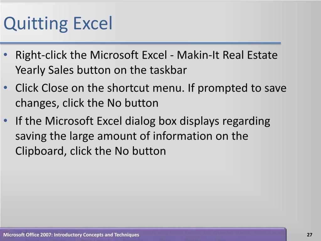 Quitting Excel