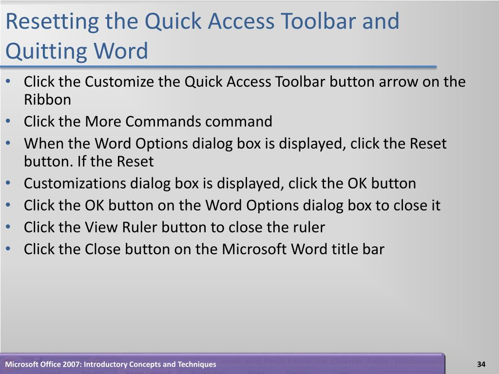 Resetting the Quick Access Toolbar and Quitting Word