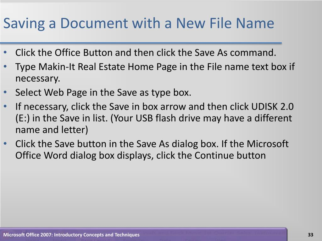 Saving a Document with a New File Name