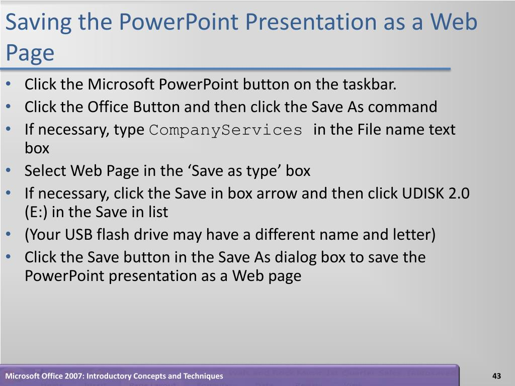 Saving the PowerPoint Presentation as a Web Page