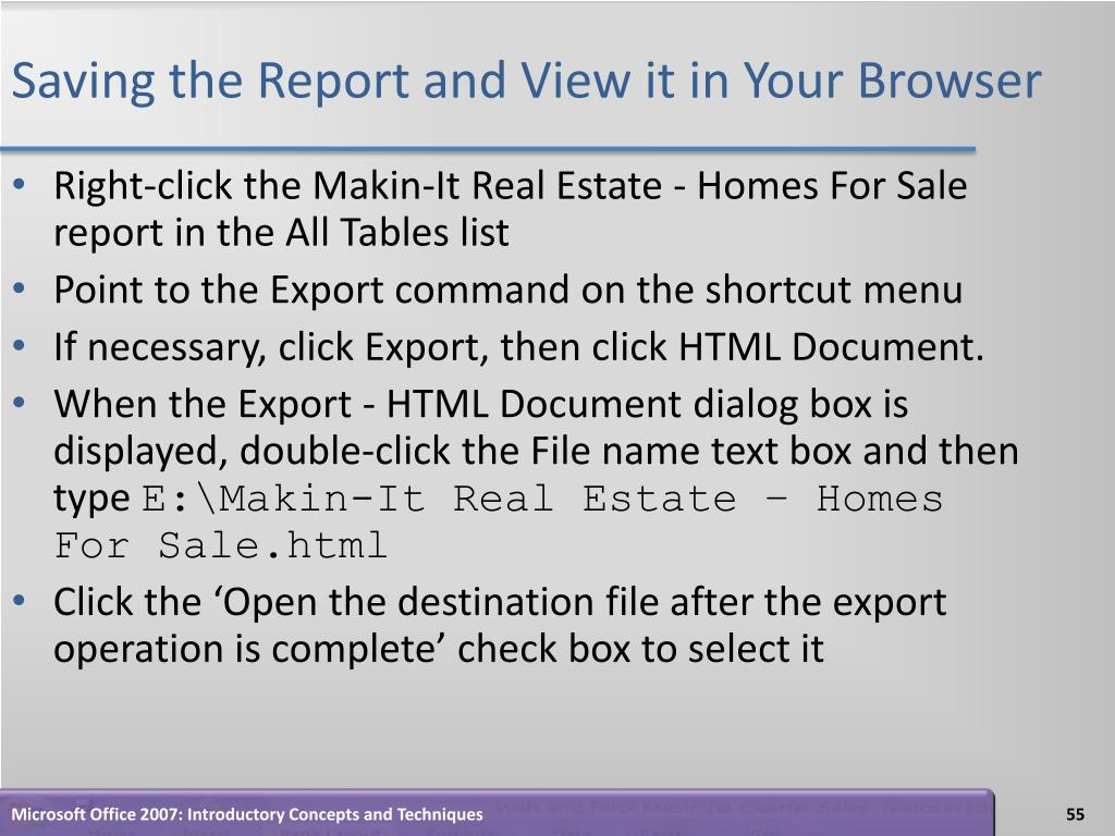 Saving the Report and View it in Your Browser