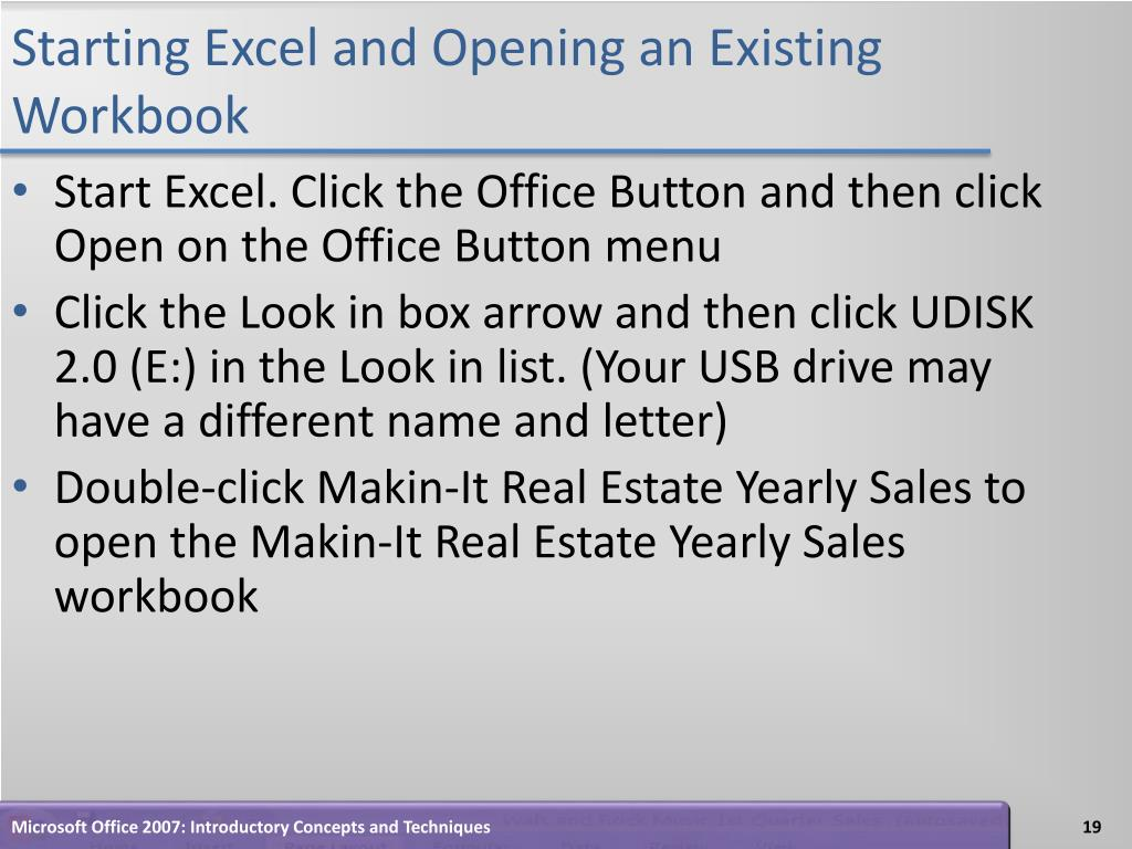 Starting Excel and Opening an Existing Workbook
