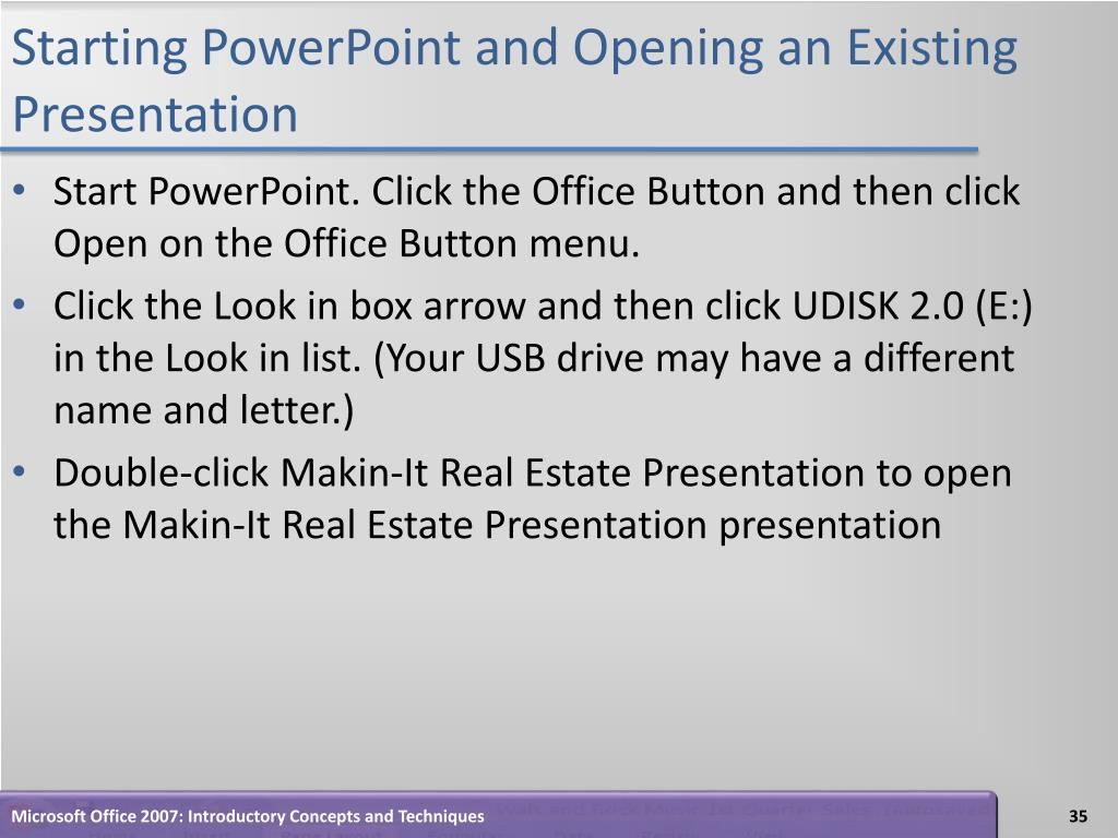 Starting PowerPoint and Opening an Existing Presentation
