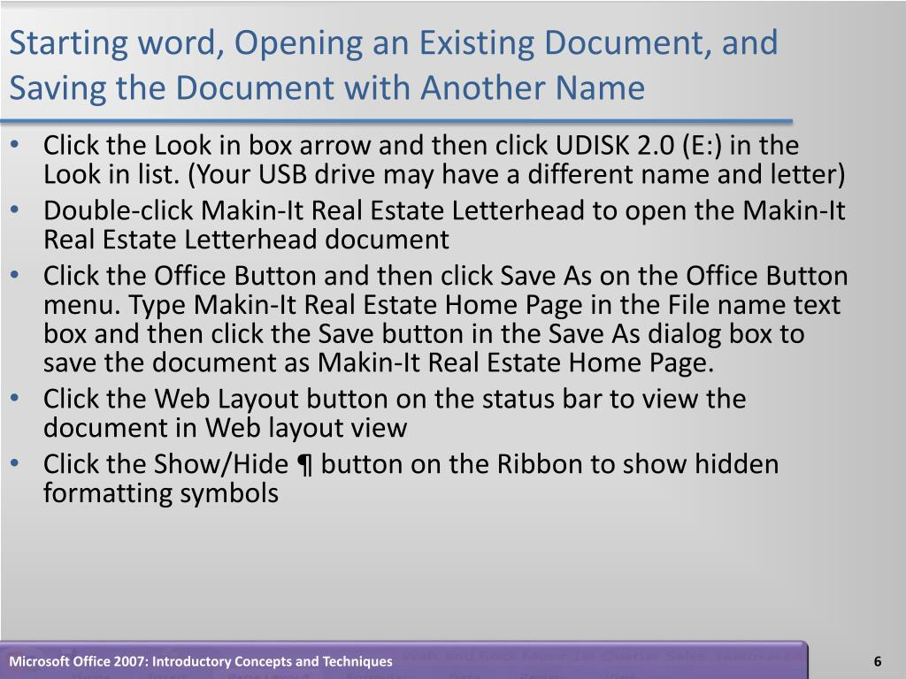Starting word, Opening an Existing Document, and Saving the Document with Another Name