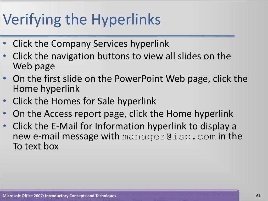 Verifying the Hyperlinks