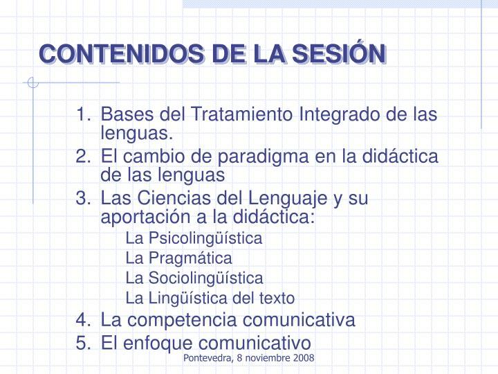 CONTENIDOS DE LA SESIÓN