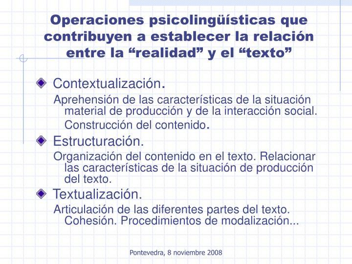"""Operaciones psicolingüísticas que contribuyen a establecer la relación entre la """"realidad"""" y el """"texto"""""""