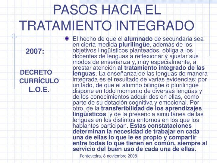 PASOS HACIA EL TRATAMIENTO INTEGRADO