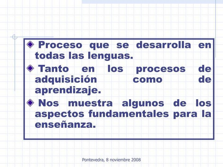 Proceso que se desarrolla en todas las lenguas.