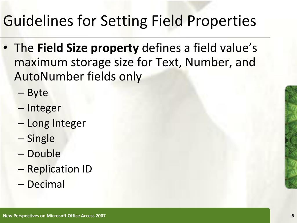 Guidelines for Setting Field Properties