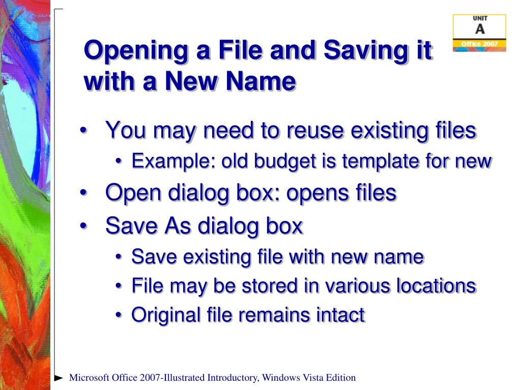 Opening a File and Saving it with a New Name
