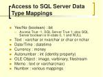 access to sql server data type mappings