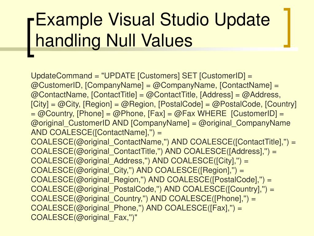 Example Visual Studio Update handling Null Values