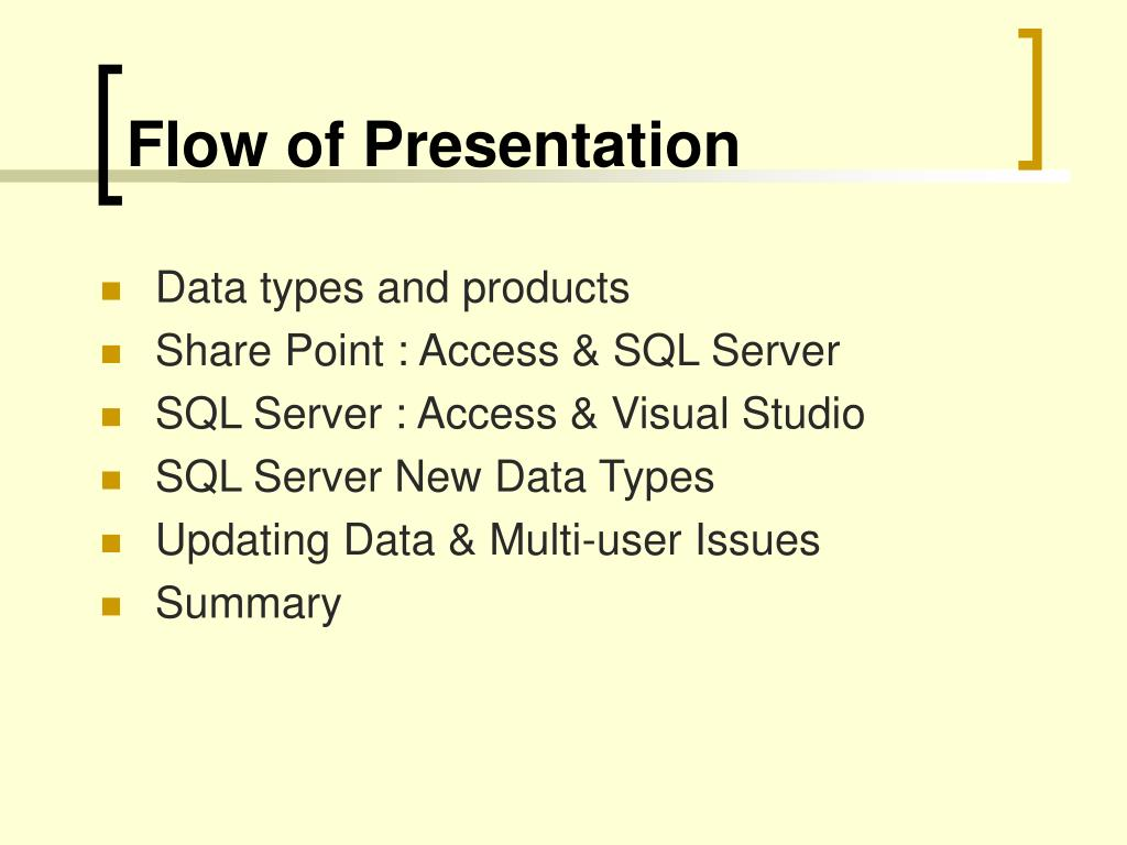 Flow of Presentation
