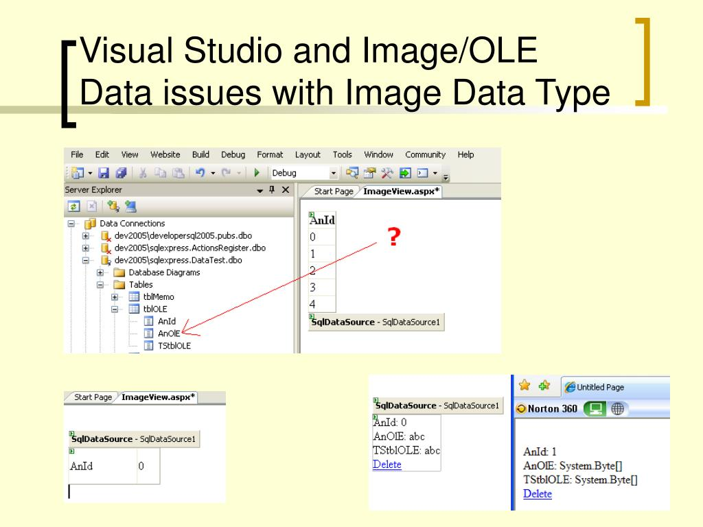 Visual Studio and Image/OLE Data issues with Image Data Type
