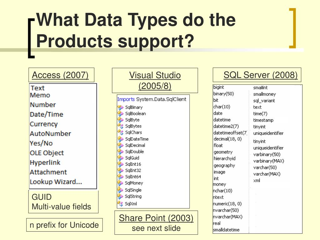 What Data Types do the Products support?