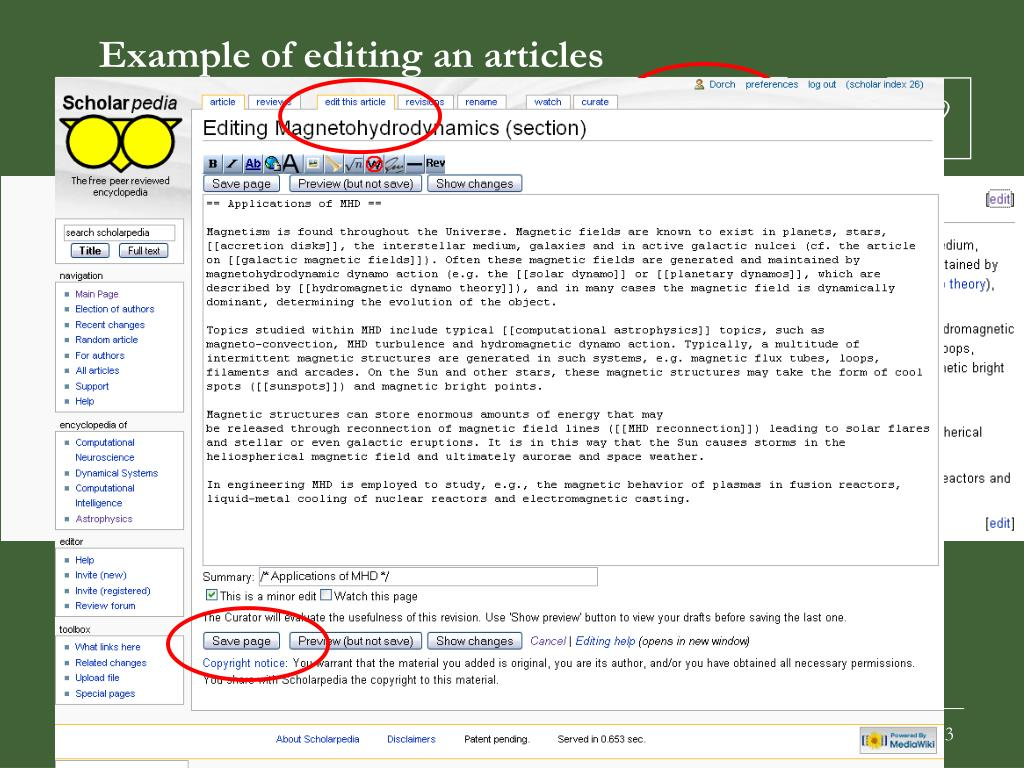 Example of editing an articles