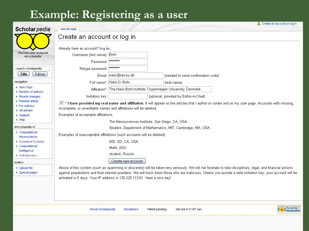 Example: Registering as a user