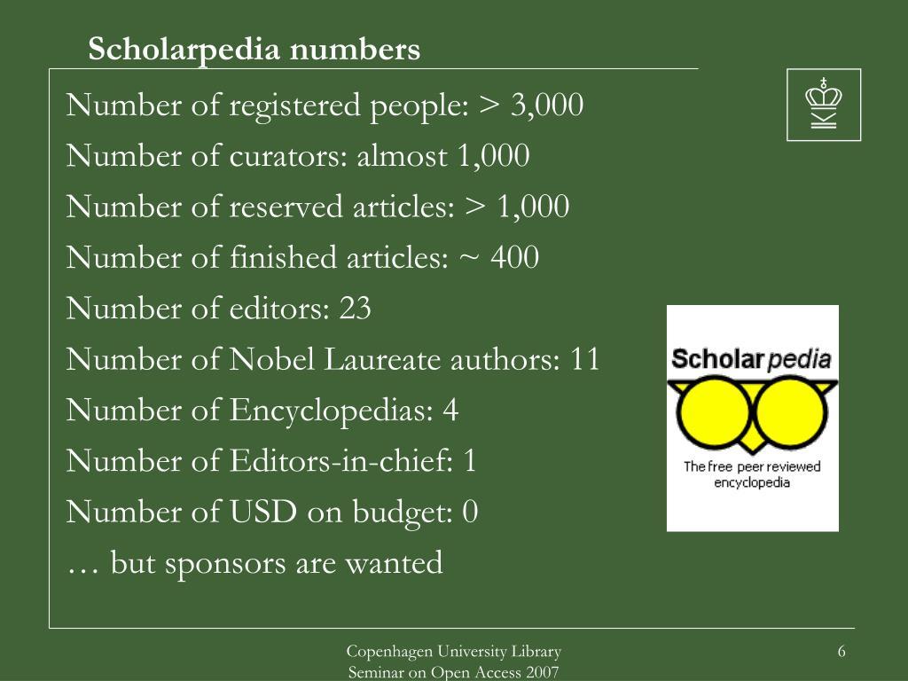 Scholarpedia numbers
