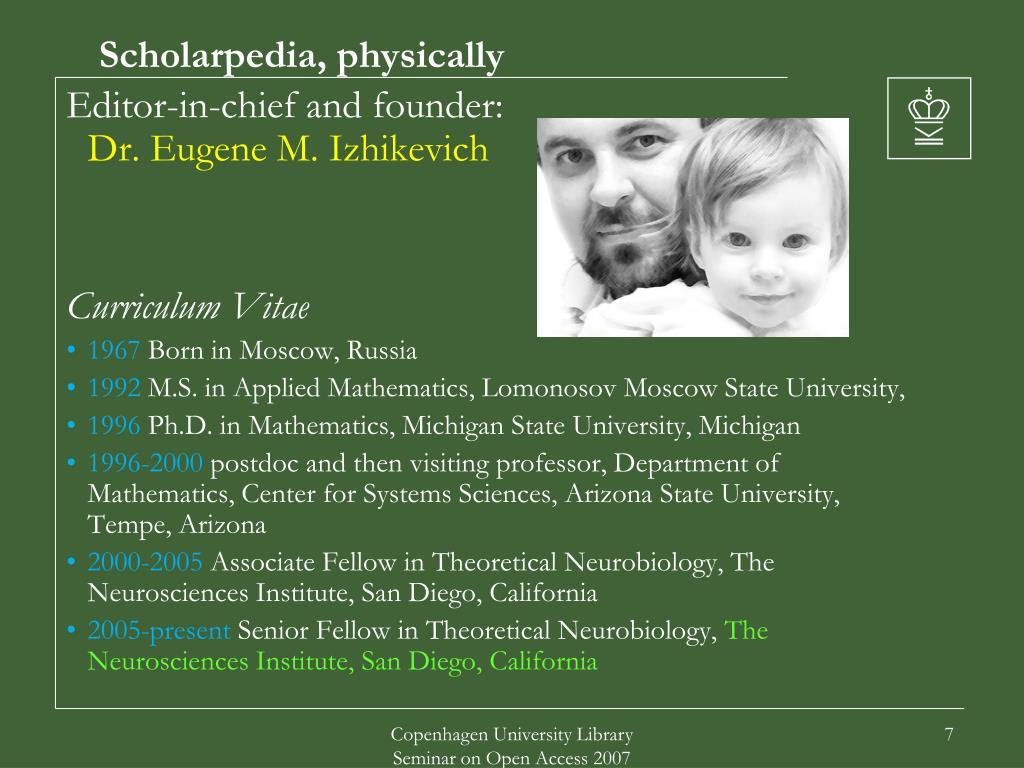 Scholarpedia, physically