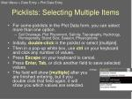 picklists selecting multiple items