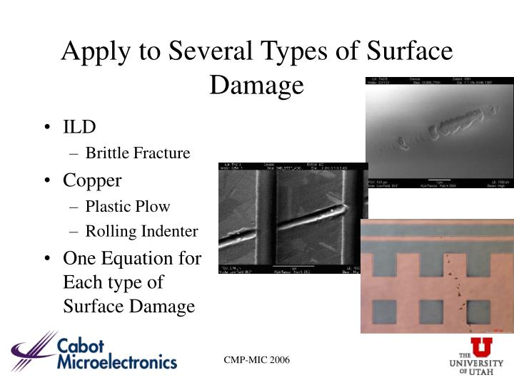 Apply to Several Types of Surface Damage