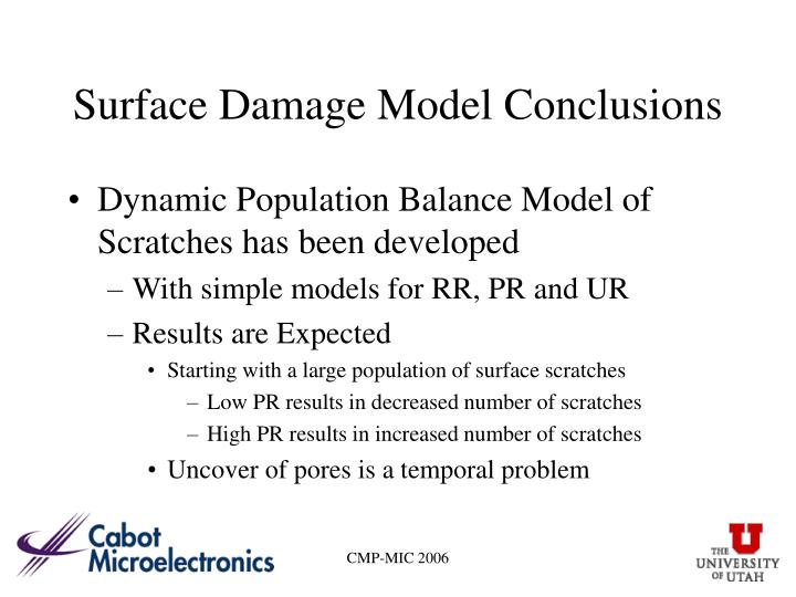 Surface Damage Model Conclusions