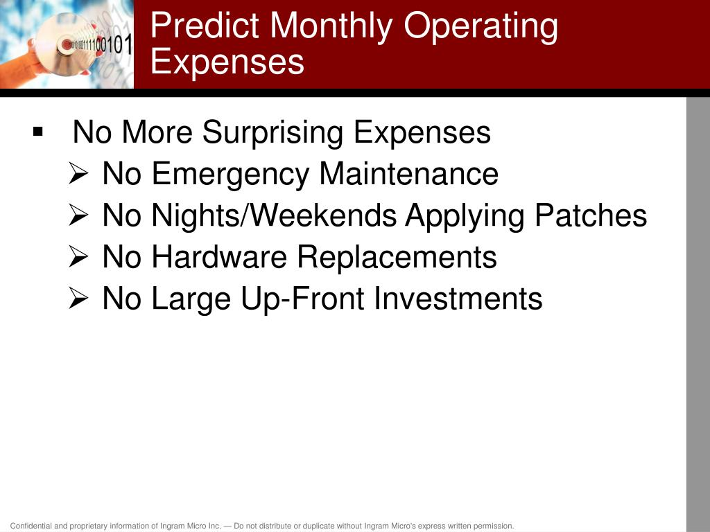 Predict Monthly Operating Expenses