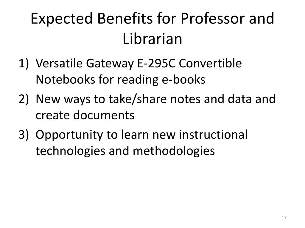 Expected Benefits for Professor and Librarian