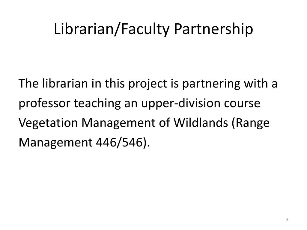 Librarian/Faculty Partnership